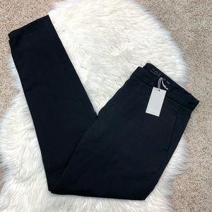 COS Slim Straight Cotton Flat Front Black Pants